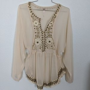 Free People Sheer Embroidered Studded Tunic XS